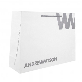 Recycled Paper Bag Printed With Grey Logo & Rope Handle-Ref. Andrew Watson