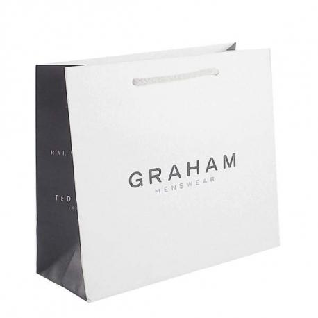 White Kraft Paper Carrier Bags - Ref. Grahams Menswear