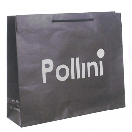 Black Unvarnished Recycled Paper Bags With Rope Handles - Ref. Pollini