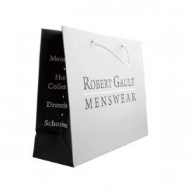 Grey & Black Printed Matt Paper Bags With Rope Handles - Ref. Robert Gault