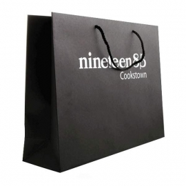 Printed Recycled Brown Kraft Rope Handle Bags With Hot Foil - Ref. Nineteen83