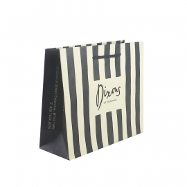 Striped Recycled Paper Bags With Rope Handles - Ref. Dixons