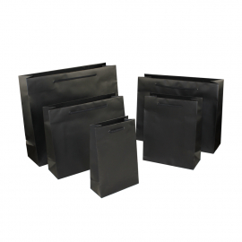 Luxury Black Matt Paper Bags With Rope Handles