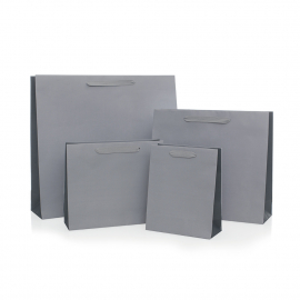 Recycled Grey Paper Bags with Cotton Ribbon Handles