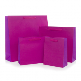 Recycled Pink Paper Bags with Cotton Ribbon Handles