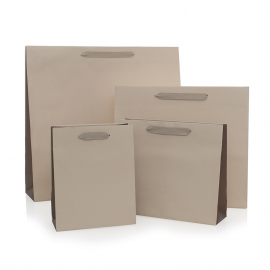 Recycled Beige Paper Bags with Cotton Ribbon Handles