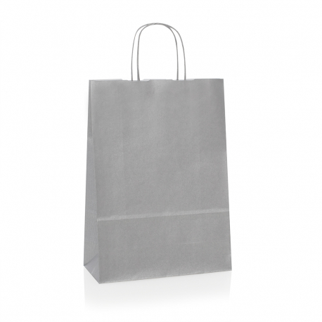 Silver Paper Bags Promotional Paper Bags With Twisted