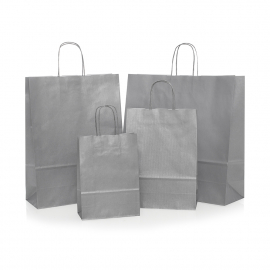 Silver Paper Bags - Promotional Paper Bags with Twisted Handles