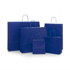 Blue Paper Bags With Twisted Handles