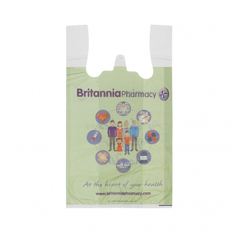 Printed Plastic Carrier Bag Ref Britannia Pharmacy