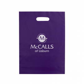 Printed LDPE Die Cut Bags With One Colour Logo Ref McCalls
