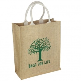 Printed Jute Bags - Large Natural Bags - Ref. Bags for Life