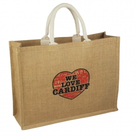 Printed Jute Bags - Medium Natural Bags - Ref. We Love Cardiff