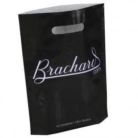 Black and White Printed LDPE Patch Handle Bags - Ref. Brachard