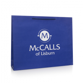 Recycled & Printed Navy Paper Bags With Rope Handles Ref McCalls