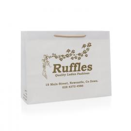 Recycled Rope Handle Paper Bags With Metallic Pantone Printing – Ref. Ruffles