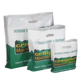 Printed LDPE Patch Handle Bags In a Range of Sizes – Ref. Craigdon