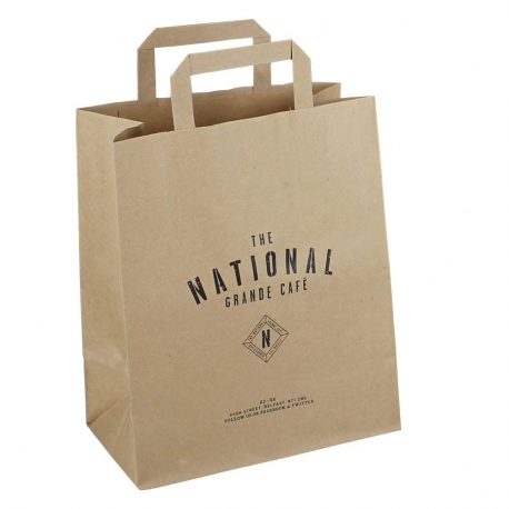 Printed Brown Paper Takeout Bags - Ref. National