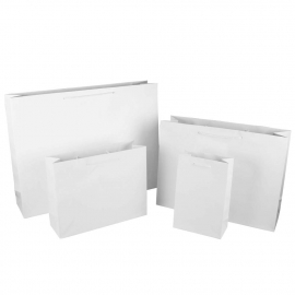 Luxury White Matt Paper Bags With Rope Handles