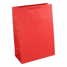 Bright Red Recycled Paper Bags With Rope Handles