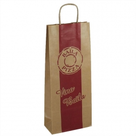 Printed Tall Brown Paper Bags With Twisted Handles - Ref. Baila Pizza