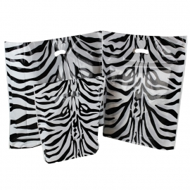 Zebra Print Plastic Bags With Punched Out Handles