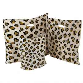 Leopard Print Plastic Bags With Punched Out Handles