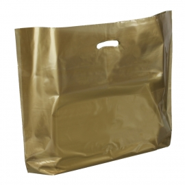 Gold Plastic Bags With Punched Out Handles