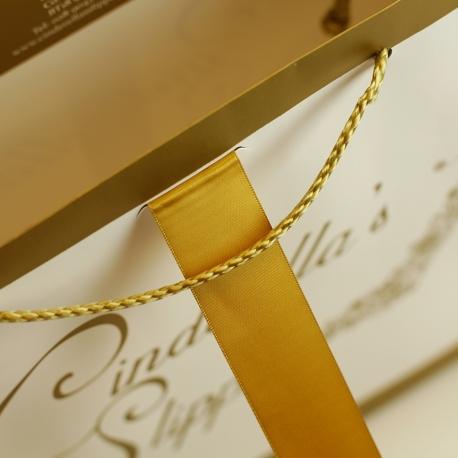 Gold&White Printed Matt Paper Bag With Rope Handle-Ref. Cinderella's Slipper
