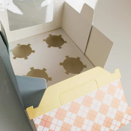Folding Patterned Cupcake Boxes