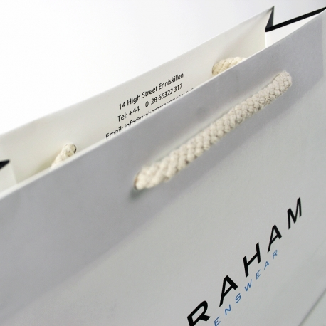 Large Recycled Paper Bags With Rope Handles - Ref. Grahams Menswear