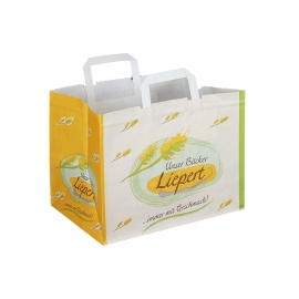 Printed White Kraft Flat Handle Paper Bags with Wide Gusset