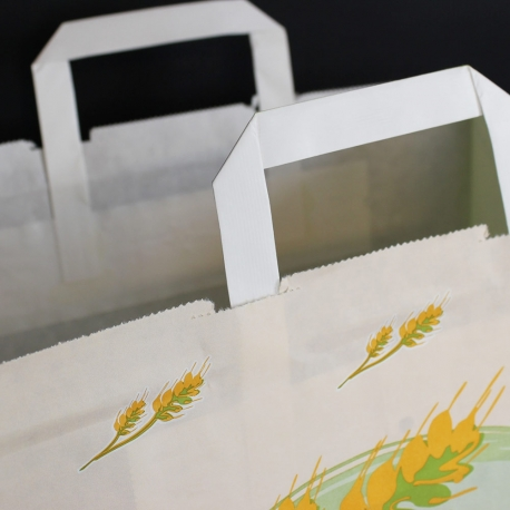 Printed White Kraft Flat Handle Paper Bags with Large Gusset