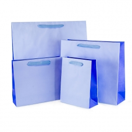 Recycled Blue Paper Bags with Cotton Ribbon Handles