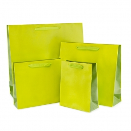 Recycled Green Paper Bags with Cotton Ribbon Handles