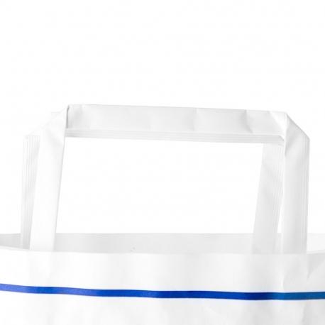 Printed Two Colour White Kraft Flat Handle Paper Bag Ref. Costa Verde