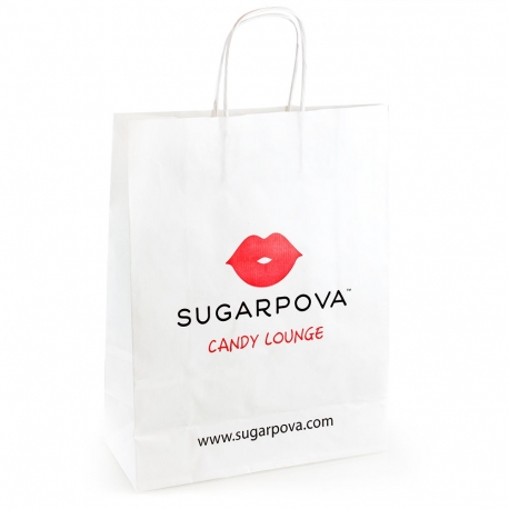 Overprinted White Kraft with Twisted Handle Paper Bag Ref. Sugarpova