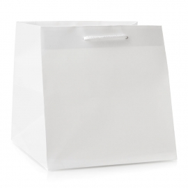 Luxury White Matt Paper Flower Bags With Rope Handles