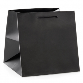 Luxury Black Matt Paper Flower Bags With Rope Handles