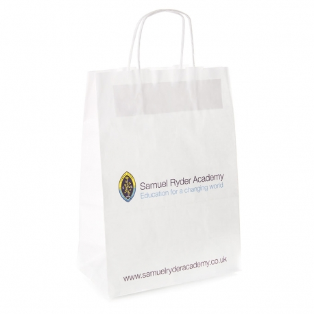 Printed Twisted Handle White Kraft Paper Bag Ref. Samuel Ryder Academy