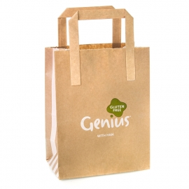 Printed Coated Kraft Paper Flat Handle Sandwich Bag Ref. Genius Gluten Free