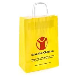 Printed Recycled Kraft Paper with Twisted Handles Ref. Save the Children