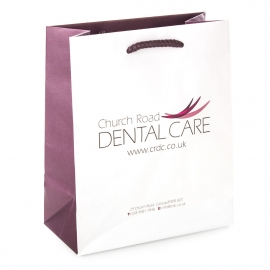 White Kraft Paper Carrier Bag - Ref. Church Road Dental Care
