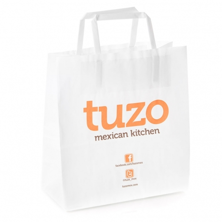 Printed White Takeout Bags With Flat Handles – Ref. Tuzo