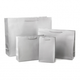 Luxury Grey Matt Paper Bags With Rope Handles