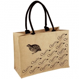 Printed Jute Bags With Black Rope Handles - Ref. Quails