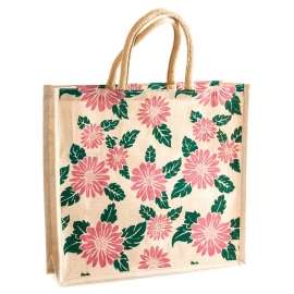 Eco-Friendly Jute Carrier Bag with Floral Design and Rope handles