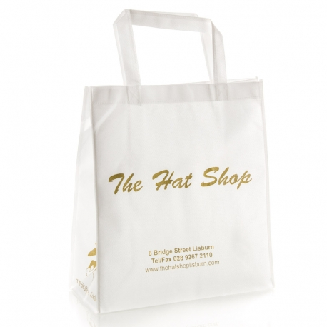 Non-Woven Flat Handle Carrier Bag Ref. The Hat Shop