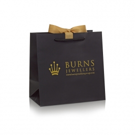 White Luxury Card with Hot Gold Foil Bag– Ref. Burns Jewellers
