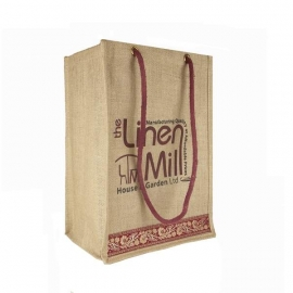 Printed Jute Bags - Natural Bags with Shoulder Handles - Ref. The Linen Mill